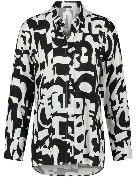 Long sleeve blouse with a contrasting print