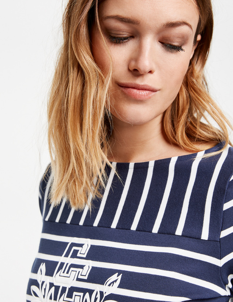 Organic cotton long sleeve top with mixed stripes