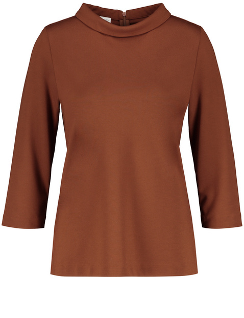 Blouse top with a small stand-up collar