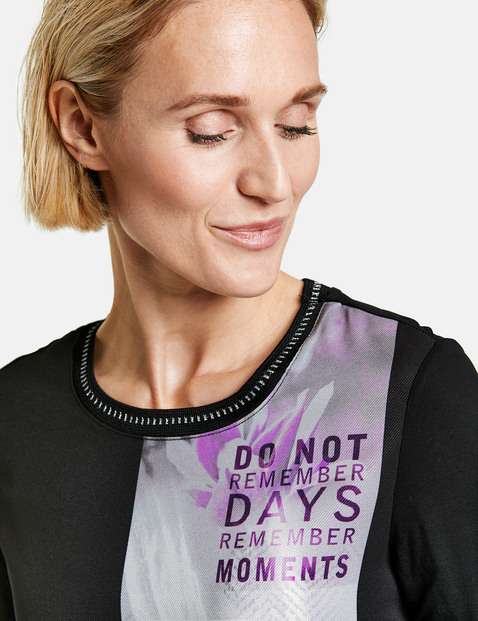Shirt met 3/4-mouwen en motief op de voorkant