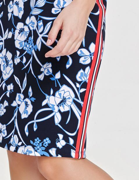 Patterned skirt with tuxedo stripe
