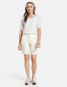 Ladies New Beige Blue Black White Lemon Mint Grey Turn-Up Cotton Shorts 10-22