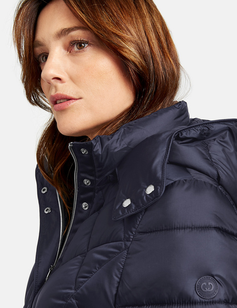 Quilted coat with a hood