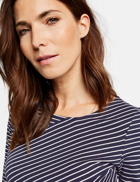 3/4-sleeve top with asymmetric stripes