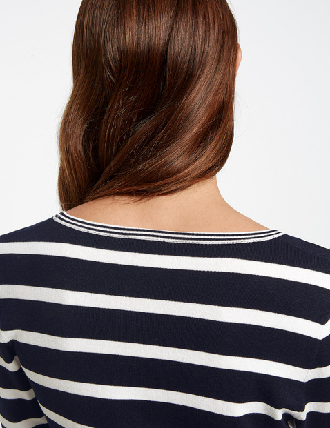 3/4-sleeve jumper with stripes
