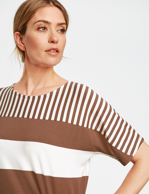 1/2-sleeve top with a mix of stripes