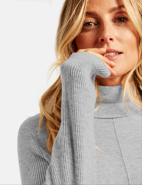 Polo neck jumper with a ribbed texture