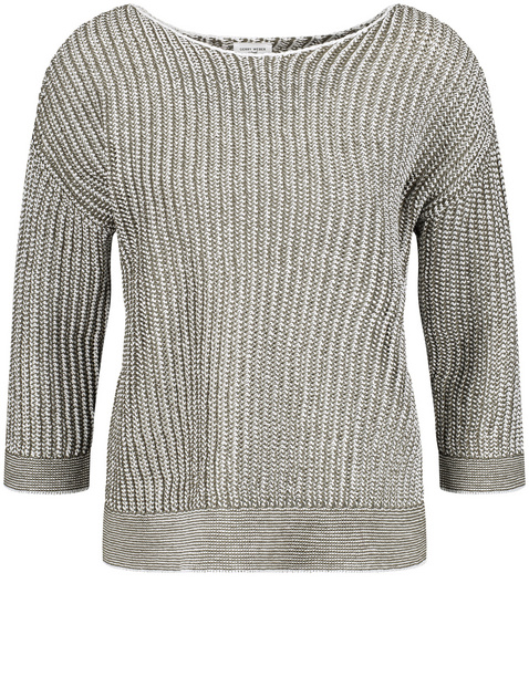 Two-tone jumper with 3/4 sleeves
